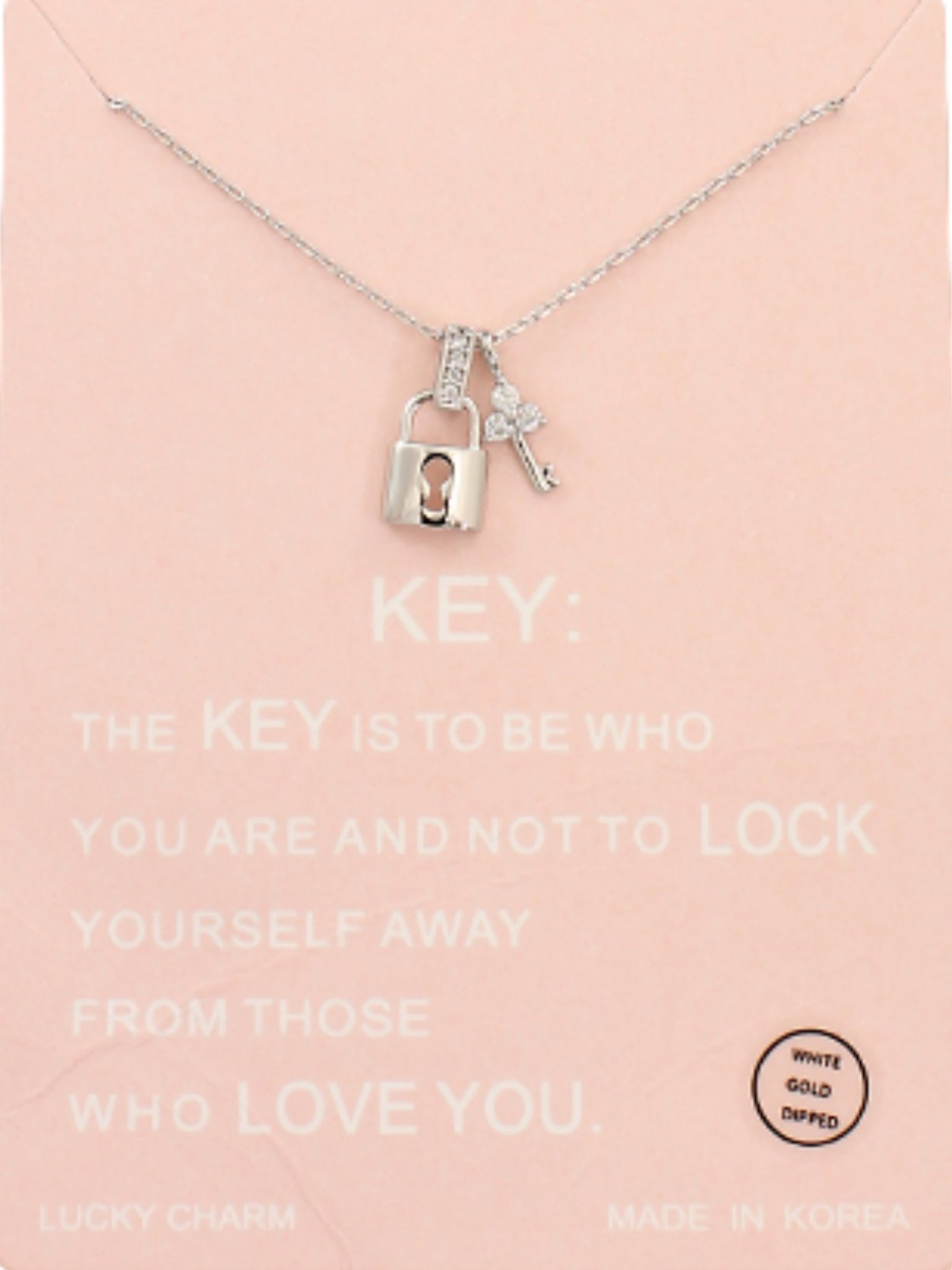 CZ Key & Lock Necklace White Gold