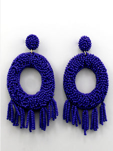 Beaded Tassel Circle Earrings Royal