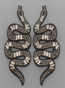 Paved Snake Earrings Clear