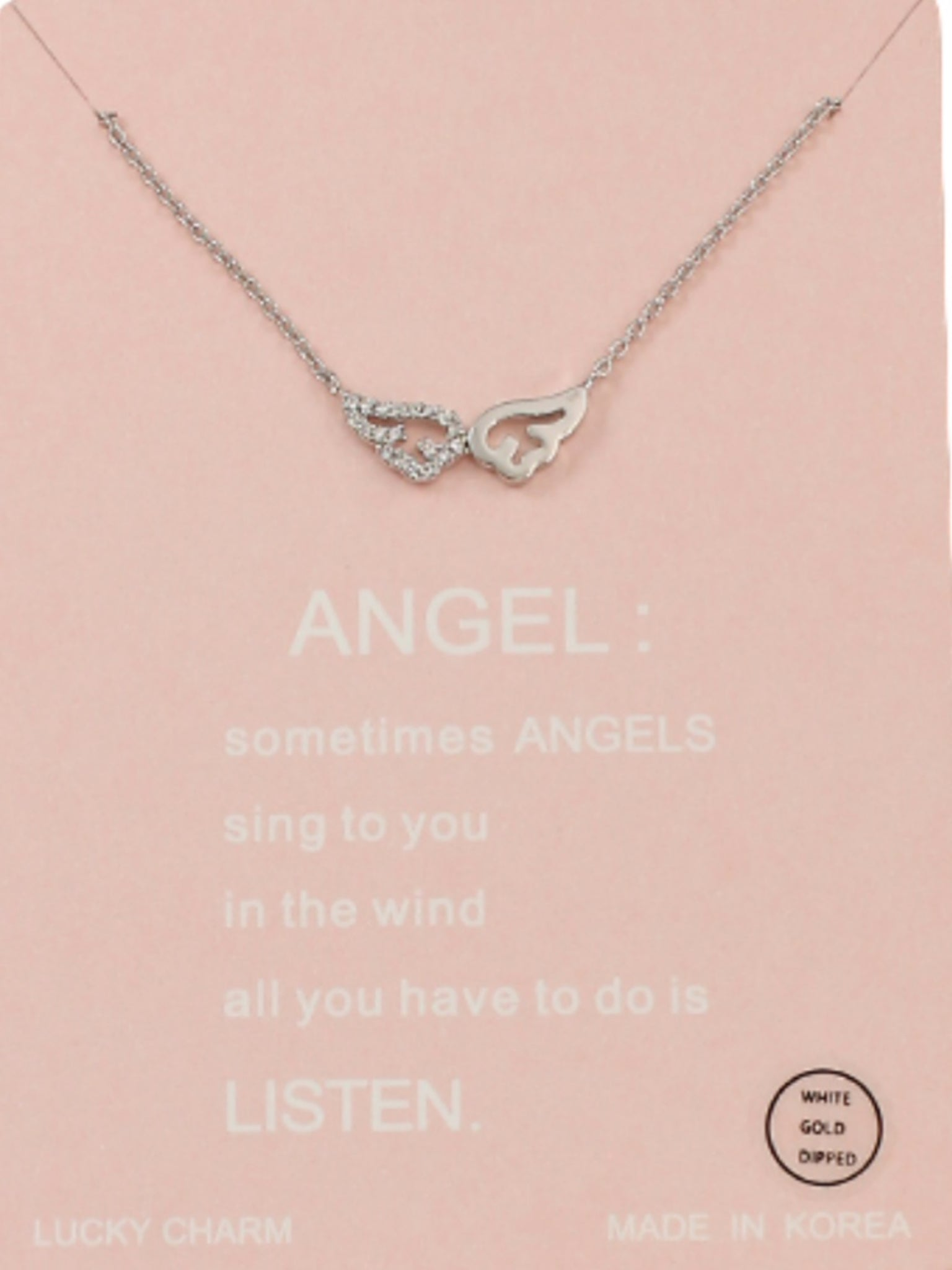 Angel Wings CZ Necklace in Silver