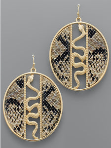 Snake Leather Disc Earrings Beige