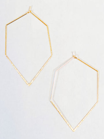 Geometric Hammered Dainty Hoops Gold