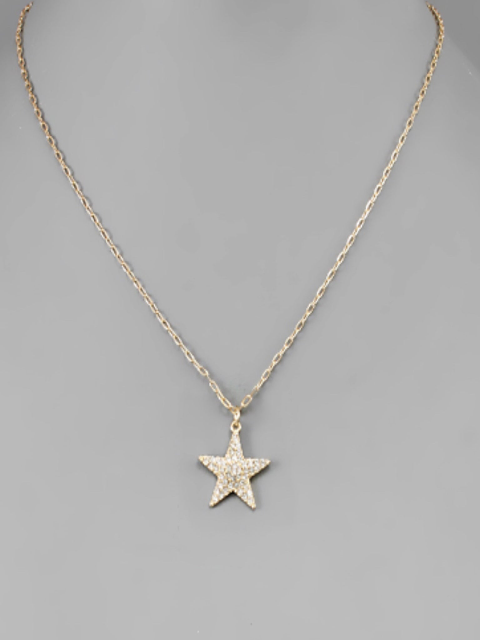 Pave Star Necklace Gold