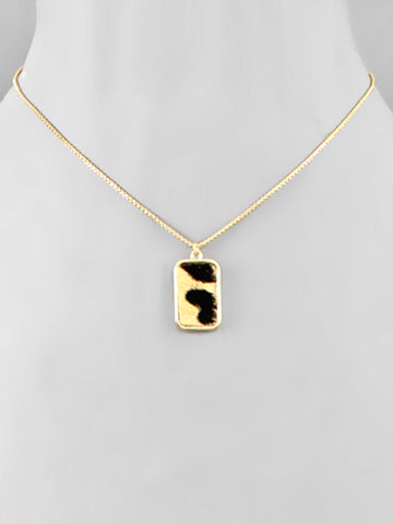 Animal Print Rectangle Necklace Gold