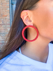 Beaded Hoop Earrings/Red - Vintage Cotton Boutique