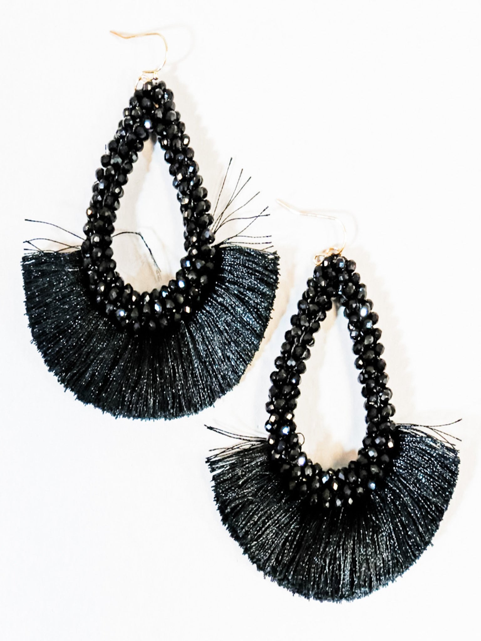 Beaded Black Teardrop Tassel Statement Earrings - Vintage Cotton Boutique