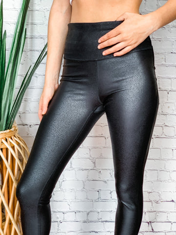 Black Scale High Waist Leggings - Vintage Cotton Boutique