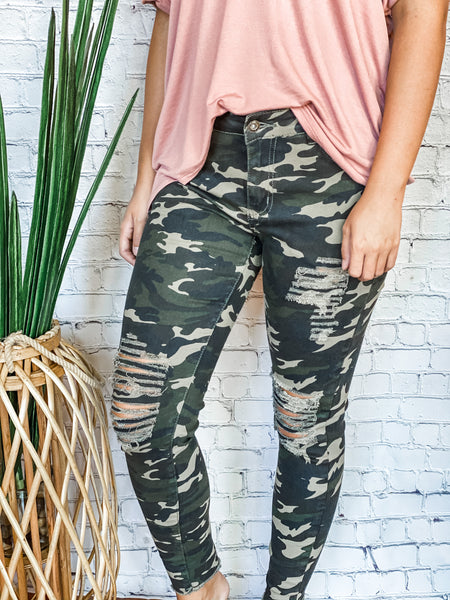 Camo Distressed Denim - Vintage Cotton Boutique