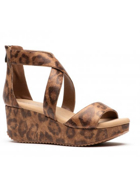 Distressed Leopard Wedge
