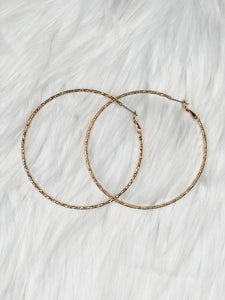 Gold Hammered Hoops - Vintage Cotton Boutique
