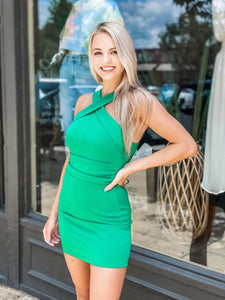 Green Halter Dress - Vintage Cotton Boutique
