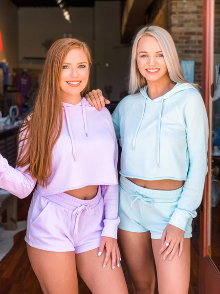Lavender and Mint Hoodie Shorts sets. Shorts have pockets and drawstring
