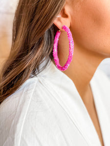 Hot Pink Sequin Earrings - Vintage Cotton Boutique