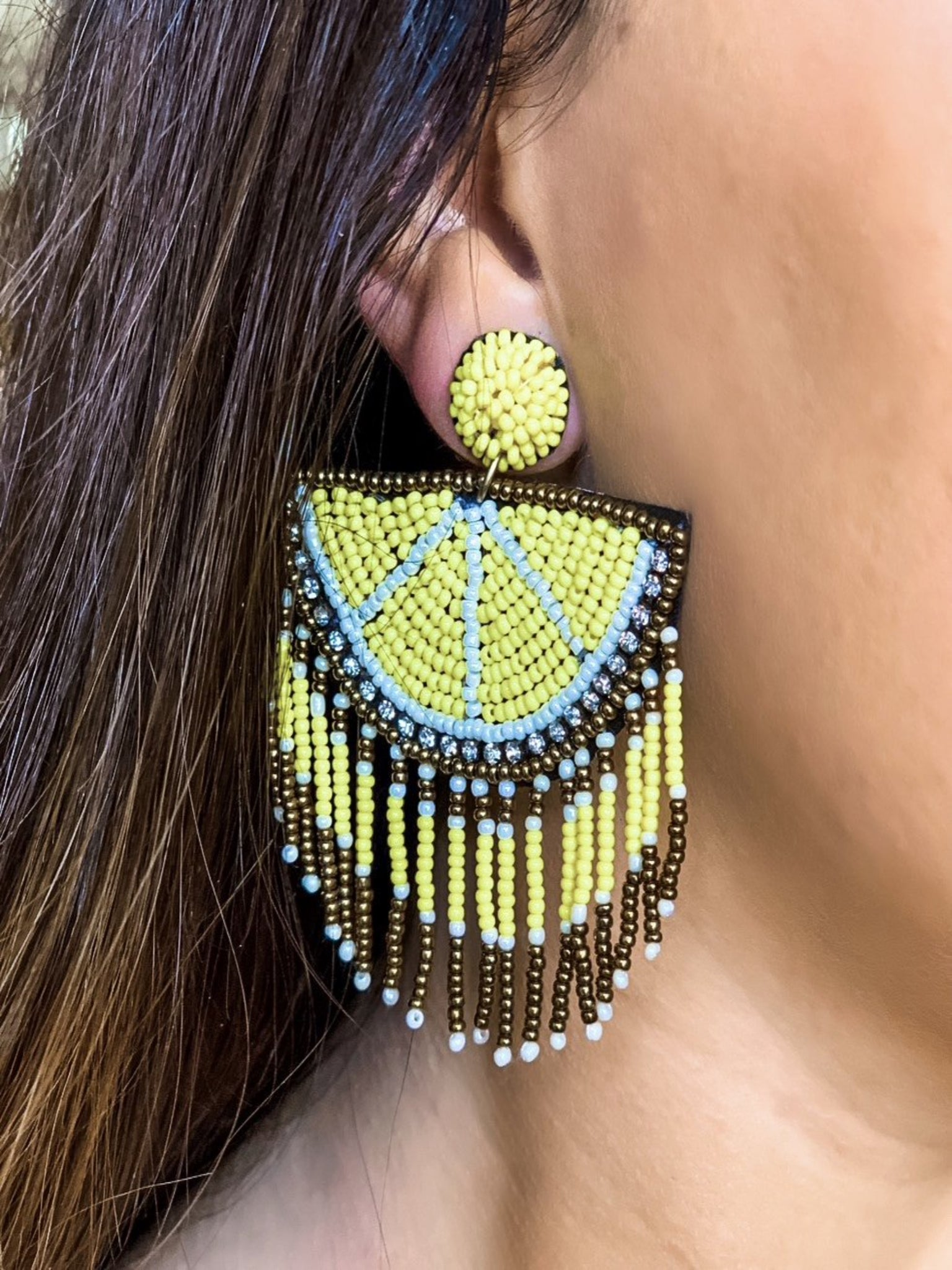 Lemon Half Beaded Earrings - Vintage Cotton Boutique