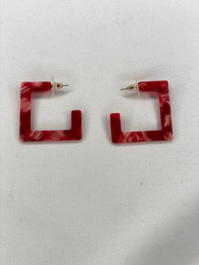 Acrylic Red Square Hoops