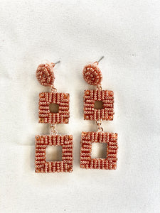 Rose Gold Square Link Earrings