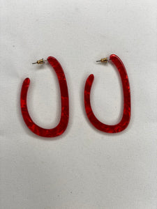 Acrylic Open Oval Hoops Red