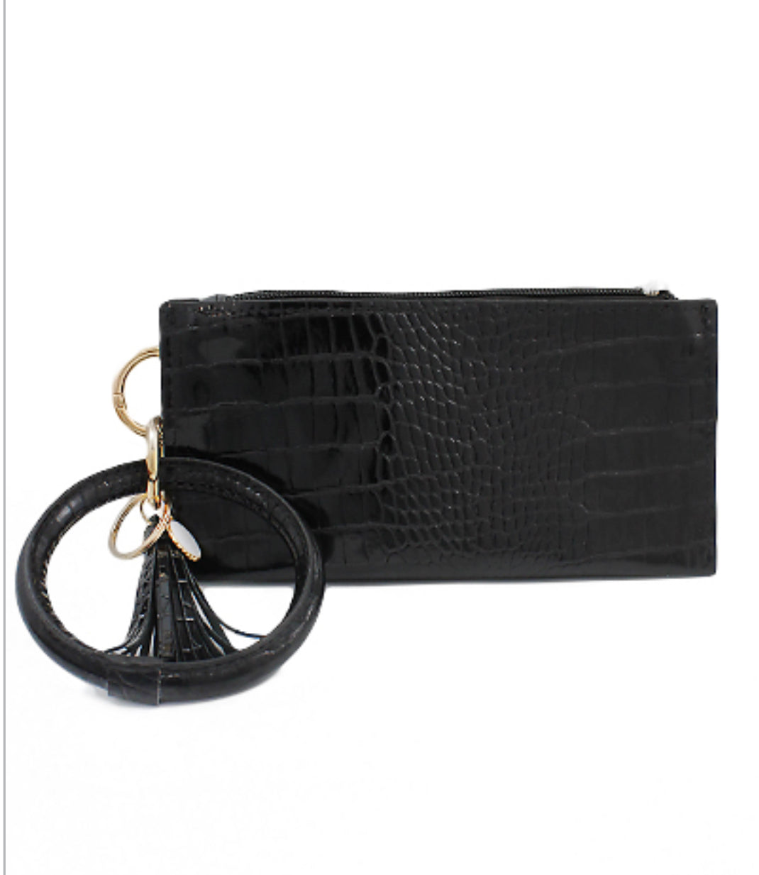 Black Patent Leather Wristlet