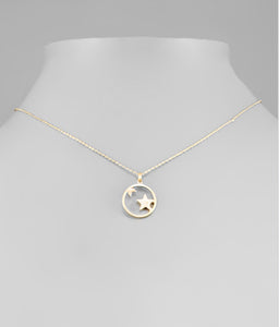 Gold Star & Crescent Moon Necklace