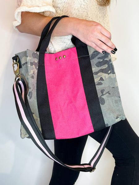Zoey Canvas Crossbody Tote Camo w/Pink