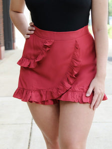 Red Ruffled Skort