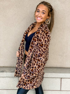 Leopard Fur Jacket with pockets