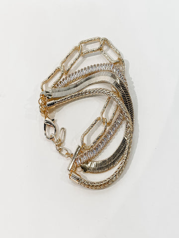 Crystal & Chain Layered Bracelet