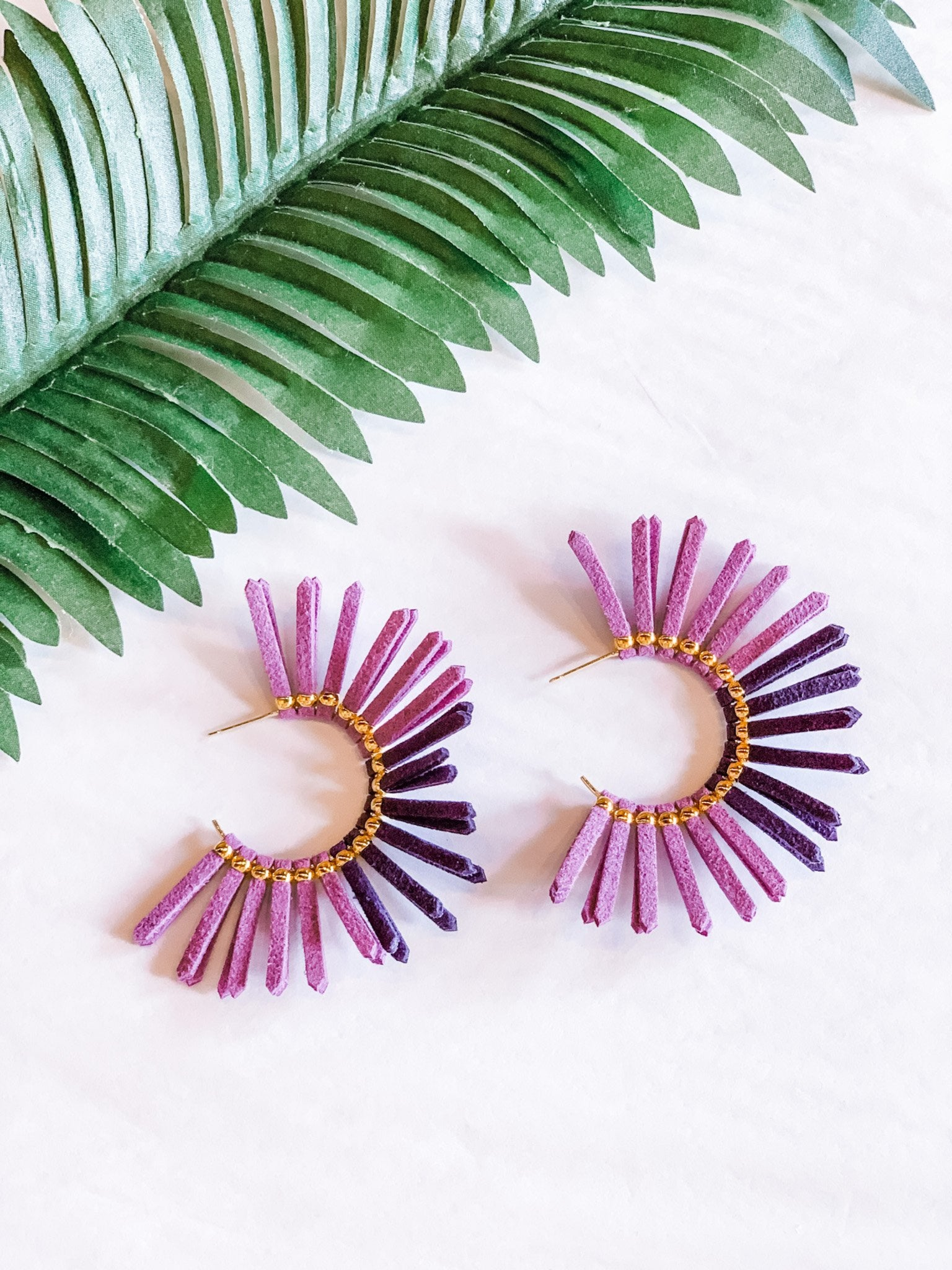 Leather Fringe Hoop Earrings/Purple - Vintage Cotton Boutique