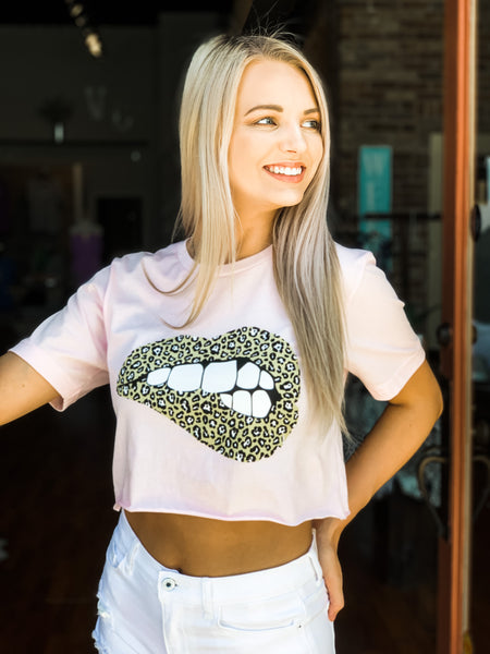 Leopard Lips Crop - Vintage Cotton Boutique
