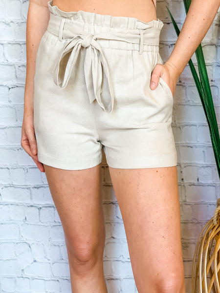 Linen Paperbag Shorts Khaki - Vintage Cotton Boutique