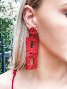 Long Beaded Square Crimson Earrings - Vintage Cotton Boutique