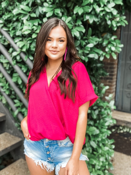 Madeline Fuchsia V Neck - Vintage Cotton Boutique