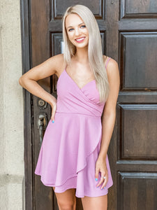 Mauve Wrap A-Line Dress - Vintage Cotton Boutique