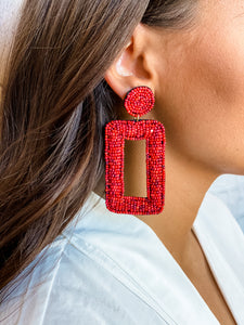 Red Beaded Rectangle Earring - Vintage Cotton Boutique