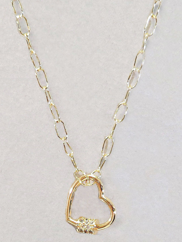 Rhinestone Heart Chain Necklace Gold