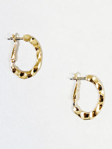 Small Hammered Hoop Earrings Gold - Vintage Cotton Boutique