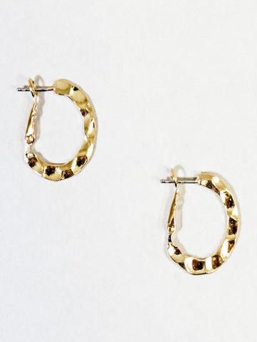 Small Hammered Hoop Earrings Gold