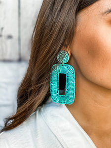 Teal Beaded Rectangle Earrings - Vintage Cotton Boutique