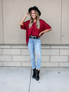V-Neck Burgundy high-low