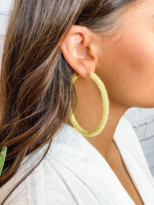 Yellow Sequin Hoop Earrings - Vintage Cotton Boutique