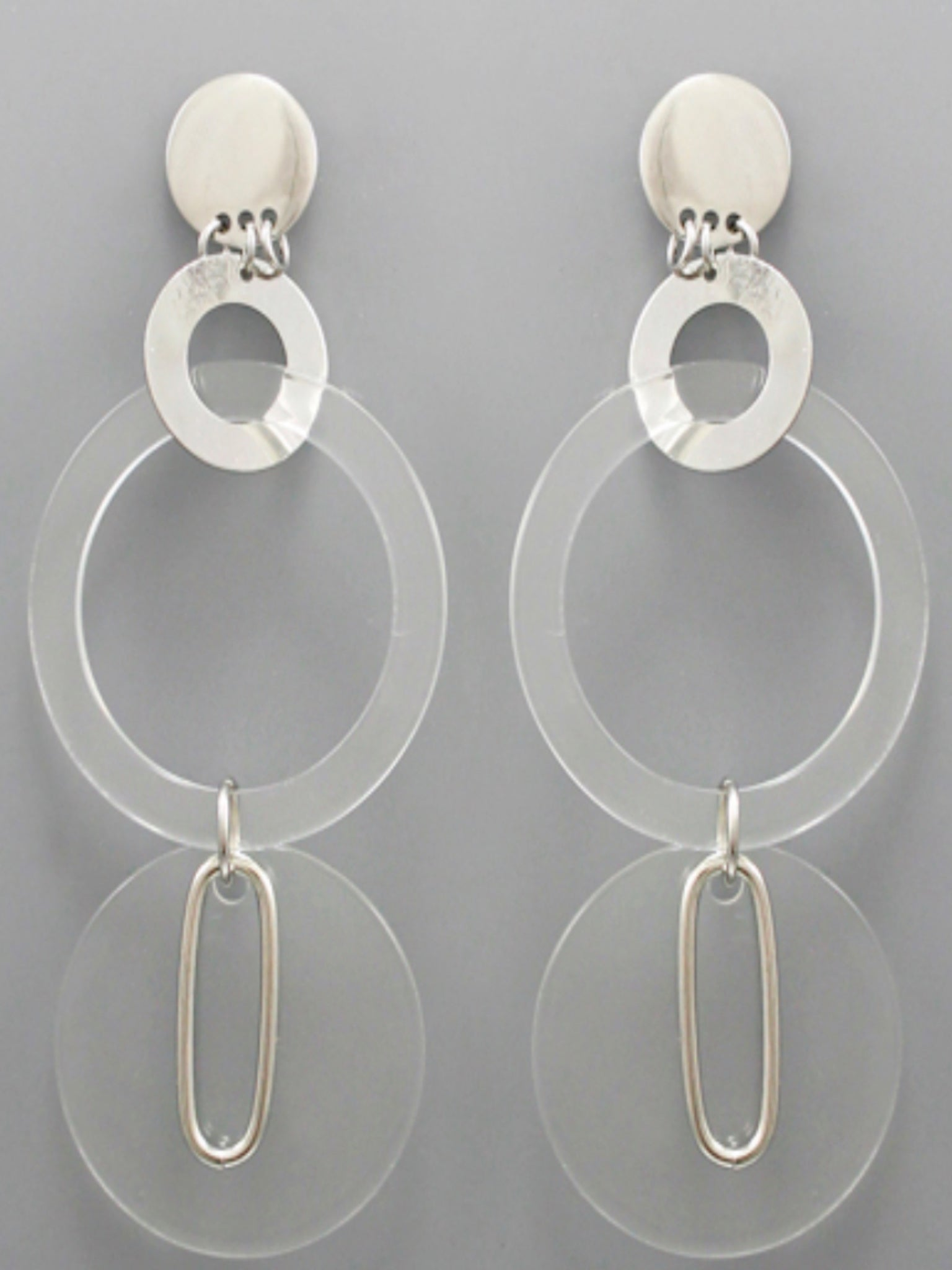 Acrylic Circle Link Earrings