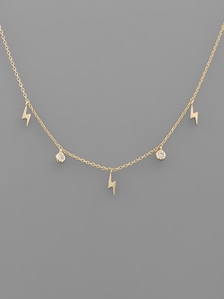 CZ & Lightning Bolt Necklace