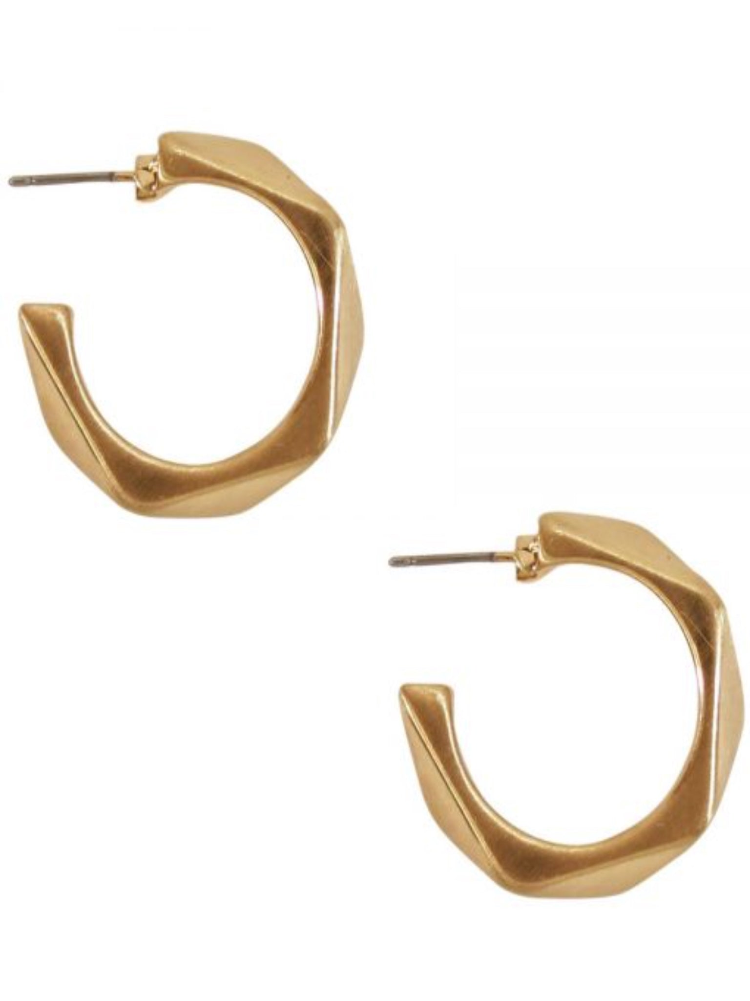 Small Geometric Open Hoop Earrings Gold - Vintage Cotton Boutique