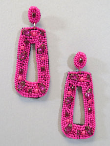 Beaded Rectangular Hoop Earring/Fuchsia - Vintage Cotton Boutique