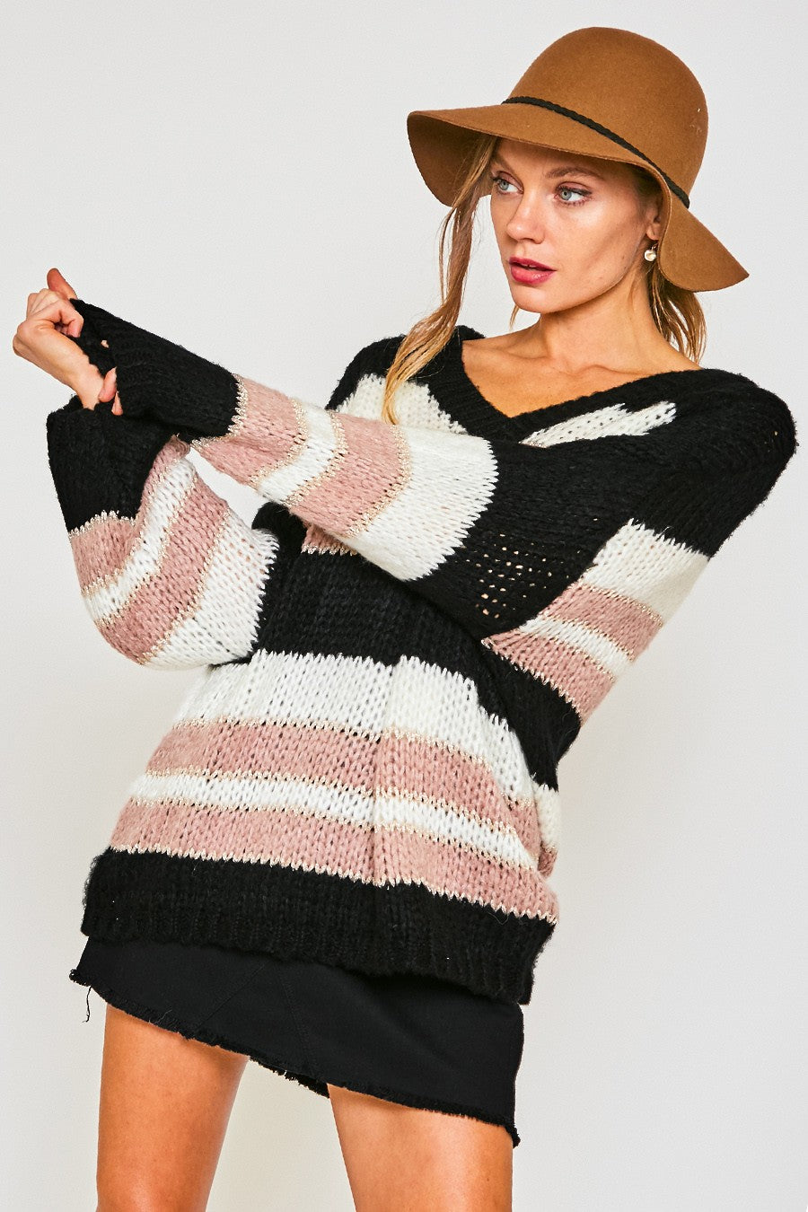 Black & Pink Multi Stripped