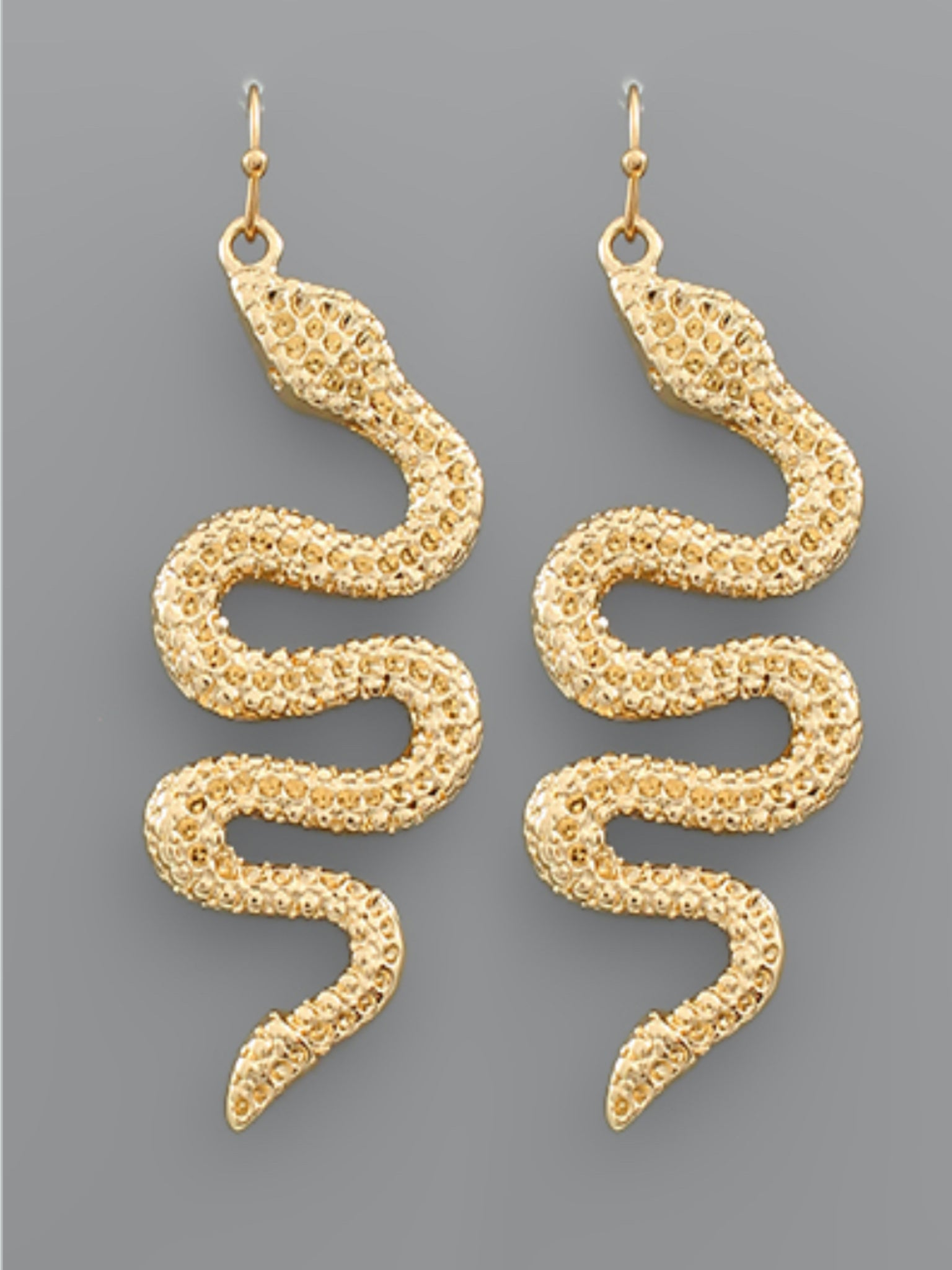 Textured Snake Earrings Gold