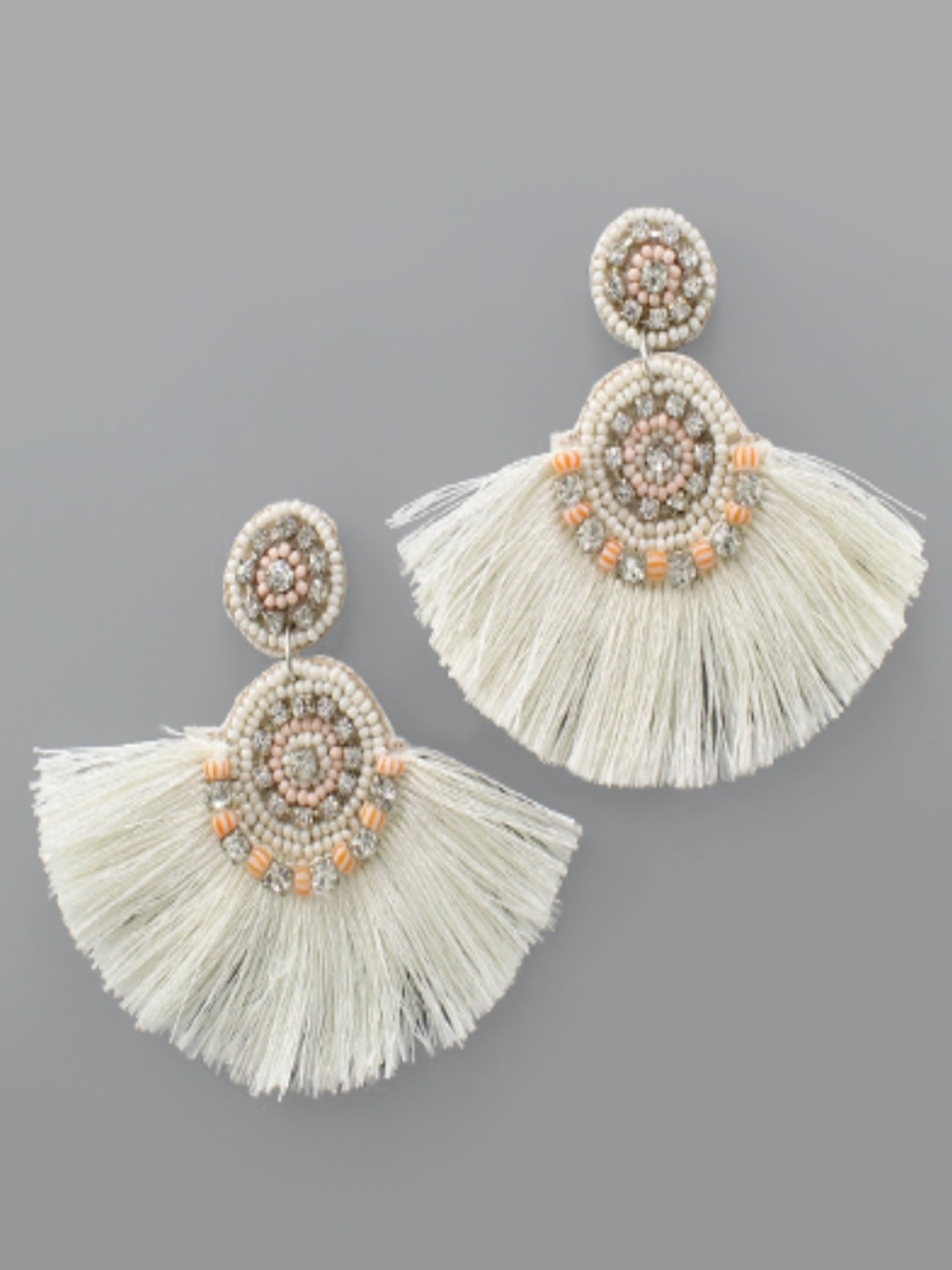Beaded Ivory Tassel Earrings
