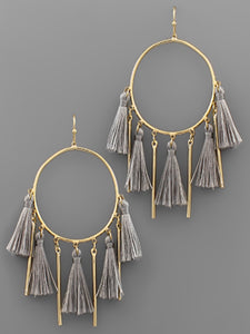 Multi Tassel & Bar Circle Earrings