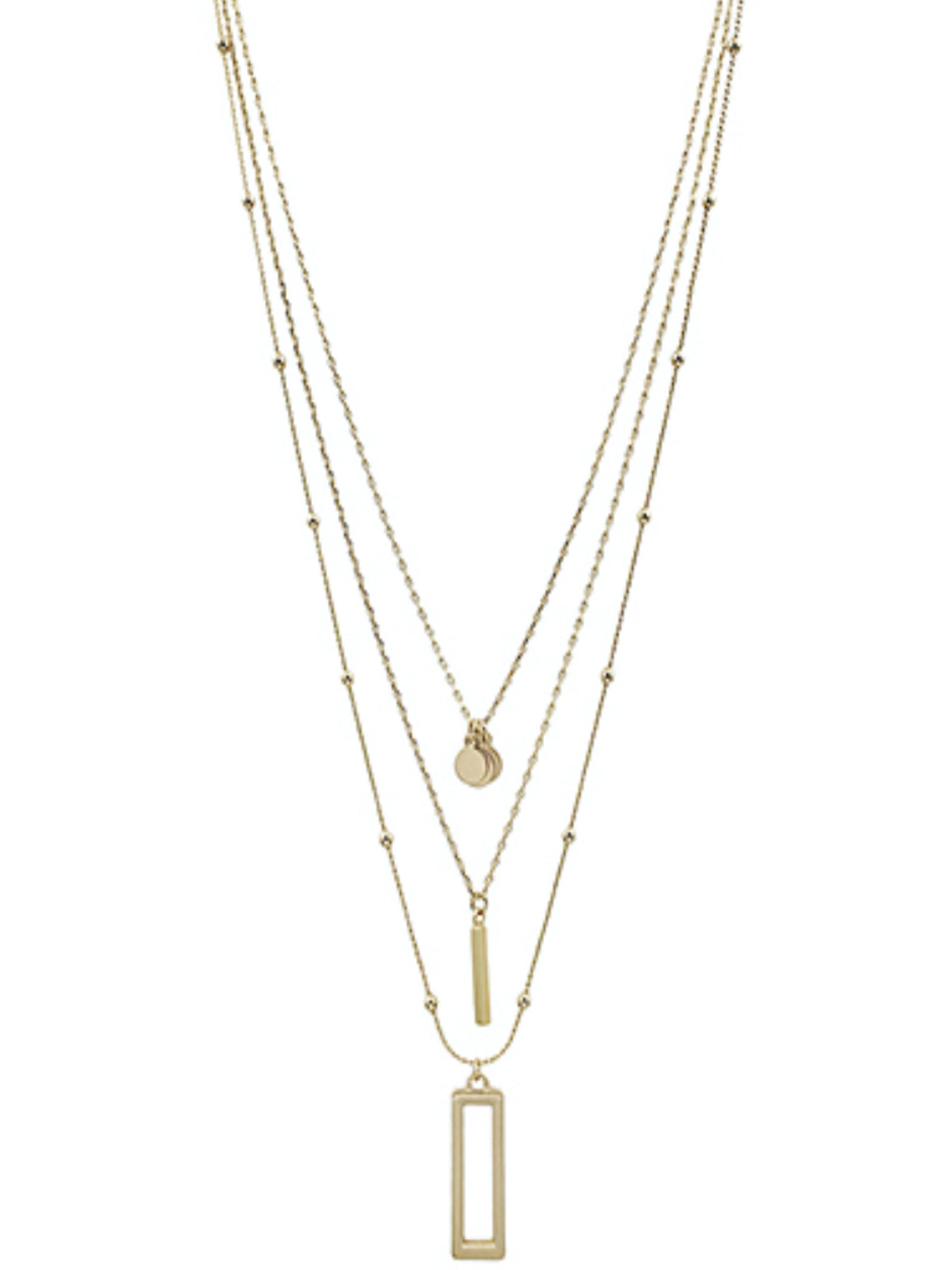 Rectangle Layer Gold Necklace
