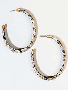 Snake Hoop Earrings/Natural - Vintage Cotton Boutique
